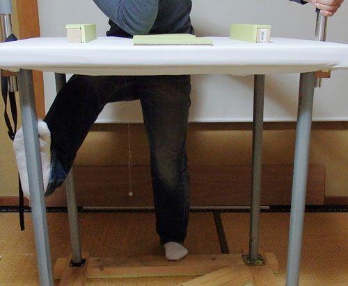 アームレスリング吊り手の足の位置
